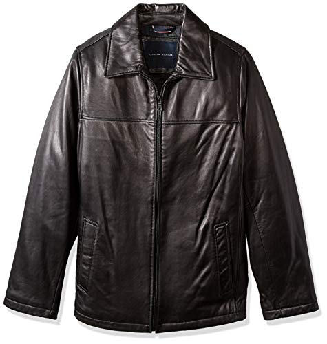 Tommy Hilfiger Men's Big and Tall Open Bottom Classic Leather Jacket, New Black, X-Larget