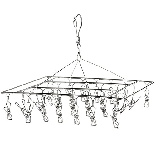 Wuyue Hua 30 Clips Stainless Steel Laundry Clothesline Hangi