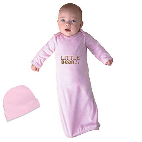 Little Bean Style 2 Infant Baby Rib Layette Sleeping Gown Soft Pink Gown & Hat (Little Bean)