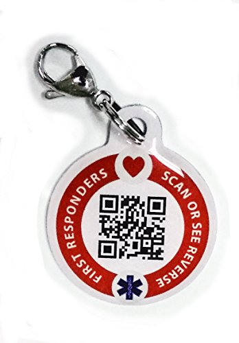 Dynotag Web/GPS Enabled QR Code Smart Medical and Emergency Contact Information Steel Tag - 30 mm, with Lobster Clasp