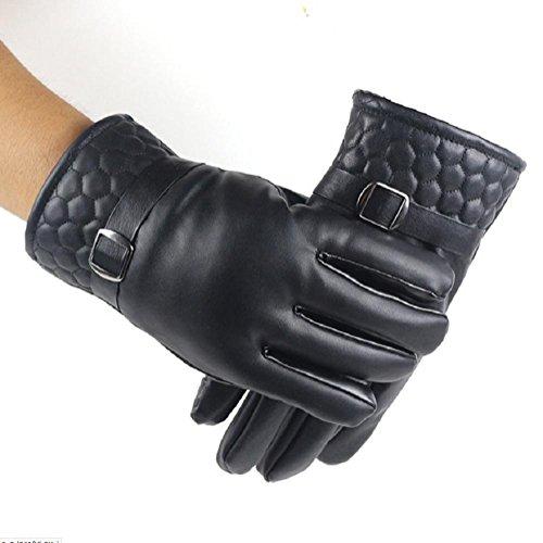 K-DD Gants en cuir d'hiver Écrans tactiles Texting Mitaines gants thermiques pour la conduite, le vélo, la moto