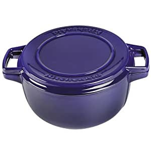 KitchenAid KCPI60CRFU Professional Cast Iron 6-Quart Casserole Cookware - Fiesta Blue