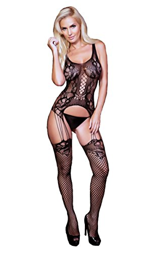 Yelete Women's Sexy Bodystocking with Garter and Thigh High Lingerie (Style (Scoop Neck Open Crotch Bodystocking)