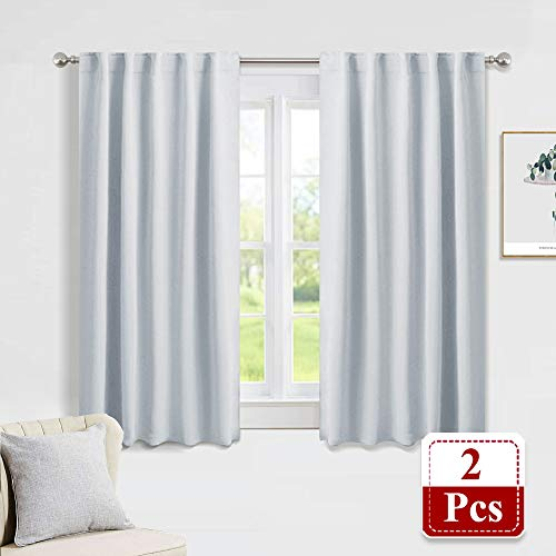 (PONY DANCE White Curtain Panels - Kitchen Curtains Room Darkening Light Blocking Energy Saving Short Drapes/Bedroom with Back Tab Home Decor, 42 in Wide by 45 Long, Grayish White, 2 PCs)