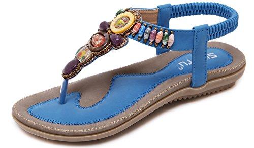 Flip Sandalias 35 con Abalorios Sandalias b de de Sandalias Playa Grande Talla Bohemia 45 Casuales Yooeen Thong Abierta Flops Planas Azul Mujer Punta Zapatos Cómodo F671Xw