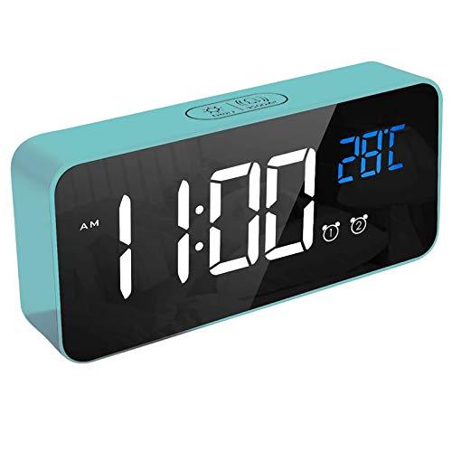 Digitaler Wecker,Bluetooth Lautsprecher, LED Digitaluhr Spiegelalarm Tischuhr USB Wiederaufladbar Reisewecker mit 2 Alarmen/Snooze-Funktion/Sprachsteuerung Funktion (Blau)