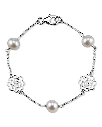 THE PEARL SOURCE 7-8mm Genuine White Freshwater Cultured Pearl Fiona Bracelet for Women ()