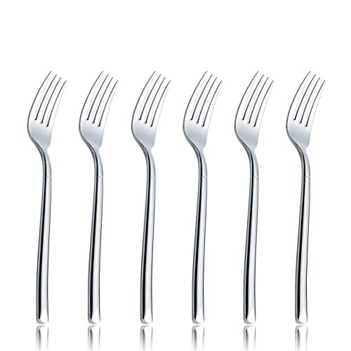 OMGard Salad Fork Sets 6 Piece 18/10 Stainless Steel Flatware 7-inch Dinner Dessert Forks Only Service for 6 Extra Heavy Weight Table Silverware Eating Utensils Cutlery Dishwasher Safe 6/Case ()