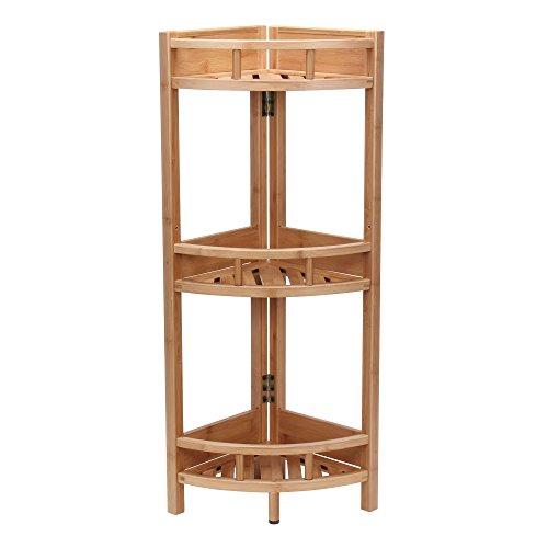 Household Essentials Bamboo 3-Shelf Corner Shelf, Slatted
