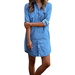 Lisli Women Long Sleeve Casual Denim Button Down Shirt Dress Club Party Jeans Dress