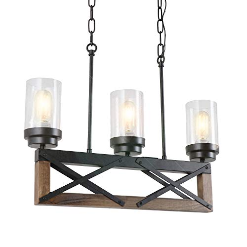 Eumyviv 3 Lights Kitchen Wood Rustic Chandelier with Glass Shades, 22