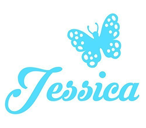 Personalized Name Butterfly Decal Sticker, Gloss Vinyl Decoration for Yeti cups, Laptops, Car Windows - Choose Color, Size