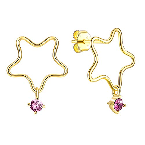 Embellished Stud - QTRESOR Sterling Silver 18K Gold Plated Star Drop Dangling Stud Earrings Embellished with Crystals from Swarovski, ❤️Earrings Gifts for Women❤️