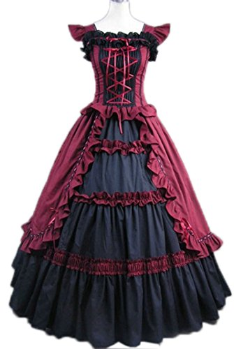 Nuoqi Gothic Victorian Costumes Women's Halloween Ballgown Fancy Gown Dark Wine -