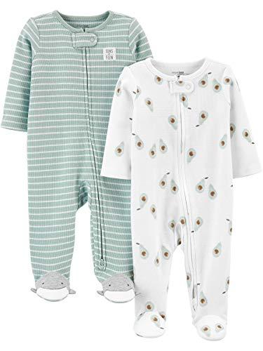 Simple Joys by Carter's Baby 2-Pack 2-Way Zip Thermal Footed Sleep and Play Unisex Baby baby- en peuter-pyjama's