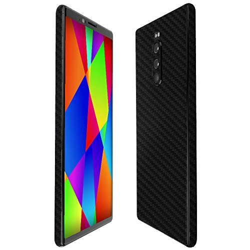 Sony Xperia 1 Screen Protector + Black Carbon Fiber Full Body, Skinomi TechSkin Carbon Fiber Film Compatible with Sony Xperia 1 with Anti-Bubble Clear Film - 1 Kit Full Body