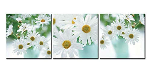 Canvas Print Wall Art Picture Floral Still Life Of White African Daisy Flower In Vase On White Background Gerbera Daisy 3 Pieces Paintings Modern Giclee Framed Artwork Flower Pictures Photo Prints