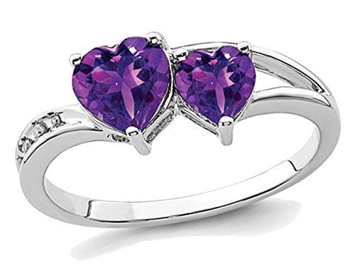 (9/10 Carat (ctw) Natural Amethyst Double Heart Promise Ring in Sterling Silver)
