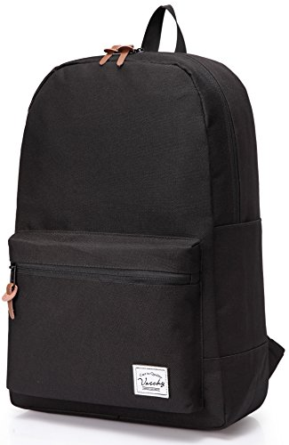 School backpack, Lightweight Casual Classic Water-resistant School Rucksack Travel Backpack 15 inch Laptop Black ()