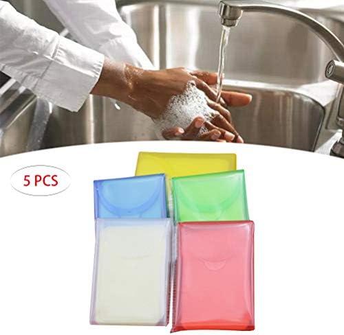 5Pcs屋外旅行手洗い石鹸紙ポータブルクリーニング石鹸紙