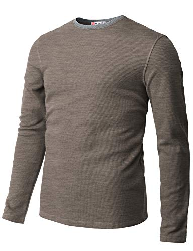 H2H Mens Casual Slim Fit Long Sleeve T-Shirts Crew-Neck Soft Lightweight Waffle Cotton HEATHERBROWN US M/Asia L (CMTTL119)