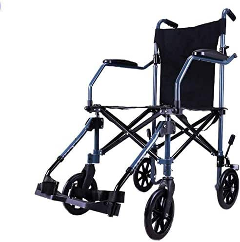 Comfortable Wheelchair Light Folding wheelchairs Wheelchair Transit Travel, Folded with The Sole Transfer Network, in Pockets, Blue.
