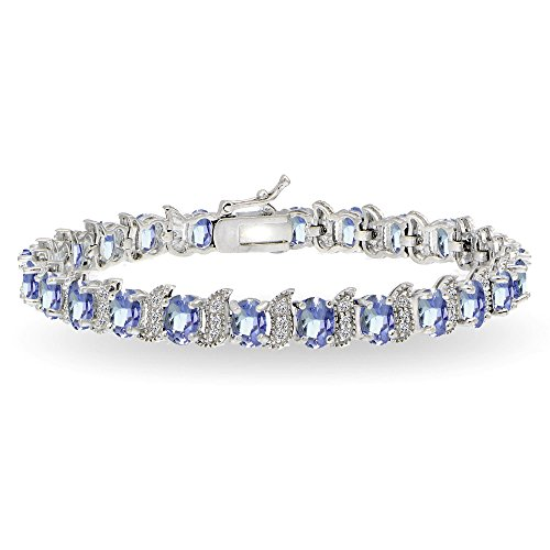 Sterling Silver Genuine, Created or Simulated Gemstone Oval and S Tennis Bracelet