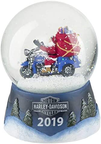 HARLEY-DAVIDSON Winter 2019 Sculpted Biker Santa Glass Snow Globe HDX-99142