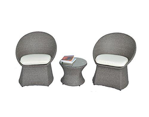 (Outdoor Rattan Wicker Bistro Set Garden Patio Furniture Conversation Chair & Table Cushioned Sets(Beige Cushion,3)