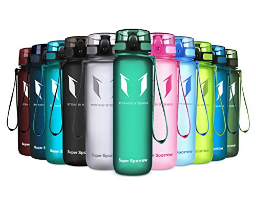 Super Sparrow Sports Water Bottle – 350ml-500ml-750ml-1L-1.5L – Non-Toxic BPA Free & Eco-Friendly Tritan Co-Polyester Plastic – Fast Water Flow, Flip Top, Opens with 1-Click (Forst Green, 1L-32oz)