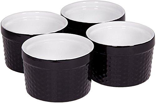 Black Round Souffle - Round Porcelain Ramekin Dessert Dish, Set of 4 - Oven Safe Souffle Baking Dish, 8-oz (Black)