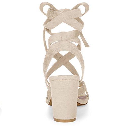 Crisscross K Ups Lace Allegra Heel Women's Beige Chunky 8FEWwZq