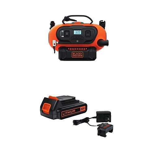 BLACK+DECKER BDINF20C 20V Lithium Cordless Multi-Purpose Inflator with  LBXR20CK 20V Max Lithium Ion Battery + Charger