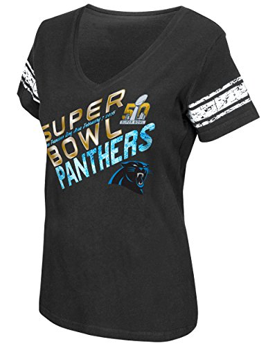 Carolina Panthers NFL Women's Super Bowl 50 V-neck Tee (Small)