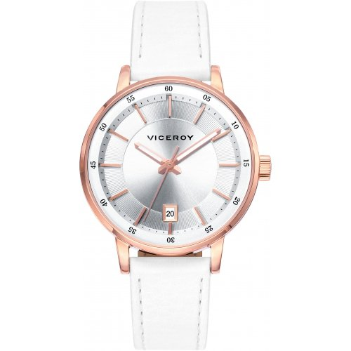 Viceroy 471034-17 Leather Woman Watch Steel IP Rose Calendar