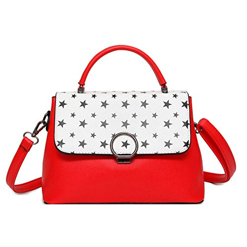 ZLLNSXKB Ms Fashion Hit Color Handbag Simple Commutación Bolsas De Hombro Salvaje Elegante Bolsa Crossbody Red