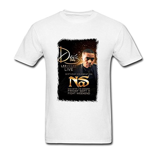 SAMJOSPHT Men's Nas Drai's Live T-shirt Size L White