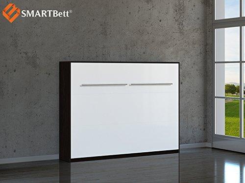 Schrankbett SMARTBett Klappbett 140cm Horizontal Wenge mit Weißer Front