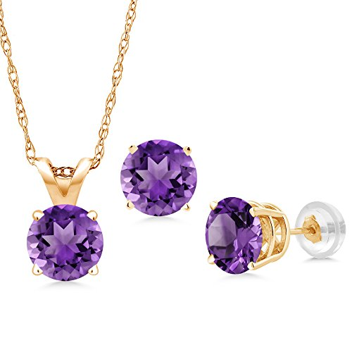 14k Amethyst Jewelry Set (1.35 Ct Round Purple Amethyst 14K Yellow Gold Pendant Earrings Set With Chain)