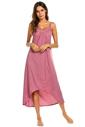 - Ekouaer Womens Sleeveless Long Nightgown Summer Slip Night Dress Cotton Sleepshirt Chemise, A-red_6696, Medium