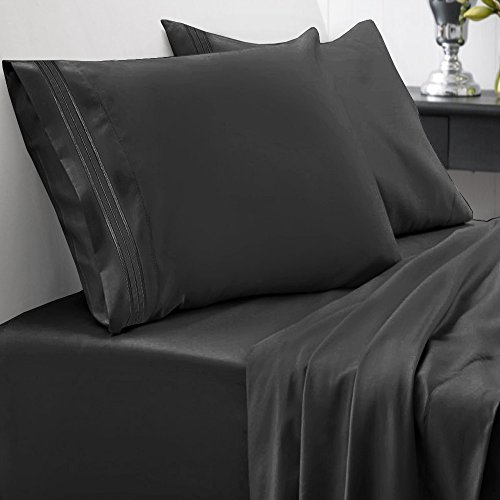 Black Elegance Collection (Sweet Home Collection 1800 Thread Count Egyptian Quality Brushed Microfiber 4 Piece Deep Pocket Bed Sheet Set, Full, Black)