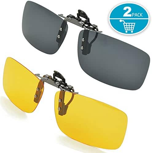 Clip-on Sunglasses, Splaks Unisex Polarized Frameless Rectangle Lens Flip Up Clip on Prescription Sunglasses Eyeglass, 2-Piece clip on glasses