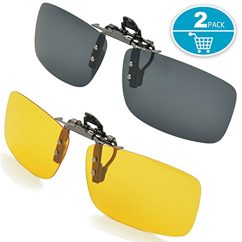 Splaks Clip-on Sunglasses, Unisex Polarized Frameless Rectangle Lens Flip Up Clip on Prescription Sunglasses Eyeglass, 2-Piece Clip on Glasses + Night Vision Glasses - Black