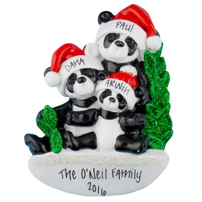 Tree Christmas Personalized Ornament (Panda Family of 3 Personalized Ornament - (Unique Christmas Tree Ornament - Classic Decor for A Holiday Party - Custom Decorations for Family Kids Baby Military Sports Or Pets))