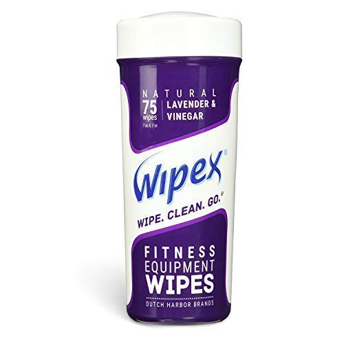 Wipex Natural Gym & Fitness Equipment Wipes, NEW Improved Lint Free Cloth, Vinegar & Lavender, 75ct Canister, Great for Yoga Mats, Pilates & Dance Studios, Home & Corp Gym, Peloton & Cycle Bikes, Spas