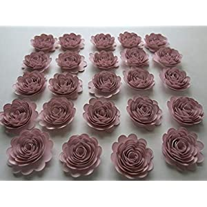 24 Piece Blush Pink Carnations Set, 1.5 Inch Scalloped Paper Flowers, Small Roses For Decorating Girl Baby Shower or Nursery, Light Pink 14