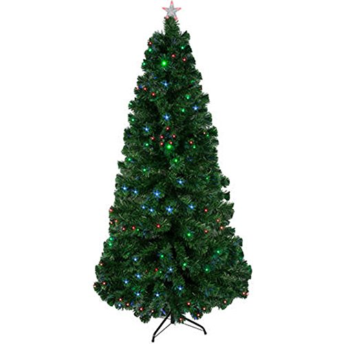 [7' Green Artificial Christmas Tree with LED Multicolor Lights and Stand] (Elf Costume Made Out Of Felt)