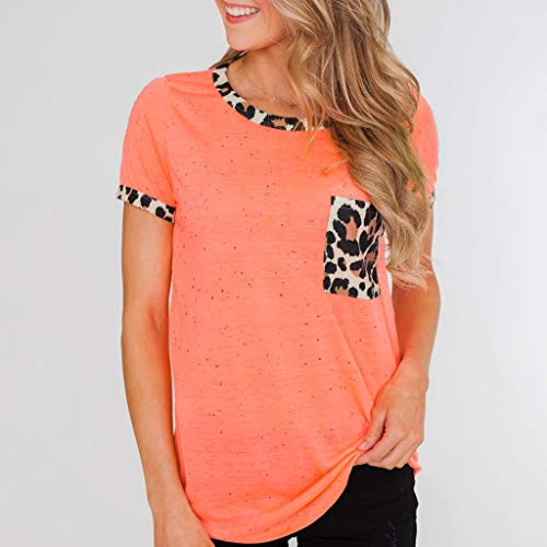 Womens Short Sleeve Tee - On Sale Fashion Pocket Leopard Dot Print Summer Casual Loose Breathable Blouse Top by Dacawin-Women Tops (Image #3)