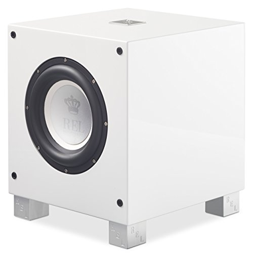 Active Subwoofer Down Firing (REL Acoustics T/7i Subwoofer, 8 inch Front-Firing Driver, Arrow Wireless Port, High Gloss White)