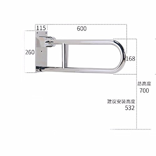 WAWZJ Handrail 304 Stainless Steel Toilet Folding Handrails For The Disabled Toilet Toilet Seat Safety Barrier Free Handle,Mirror Light,C by WAWZJ-Handrail